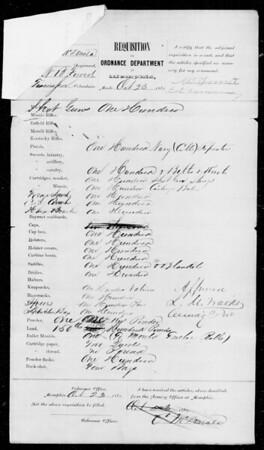 Memphis Ordnance Requisition Form (Oct 23, 1861 (addendum Nov 26, 1861); no Merrills ordered, BUT NB Forrest) 2