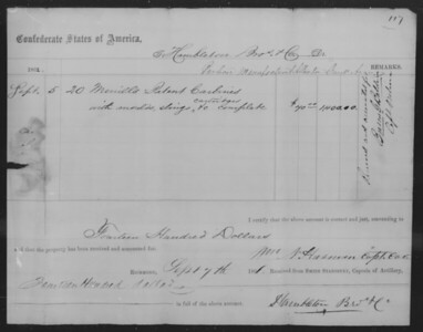 Hambleton, Brothers and Co (Sept 7, 1861; 20 Merrill carbine, moulds, slings, cartridges,'unknown' complete - received and accounted for 'by whom') 1