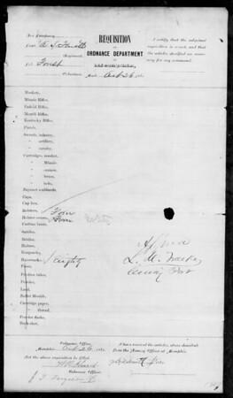 Memphis Ordnance Requisition Form (Oct 26, 1861); no Merrills ordered)