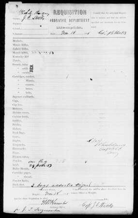 Memphis Ordnance Requisition Form (Nov 18, 1861; no Merrills ordered)