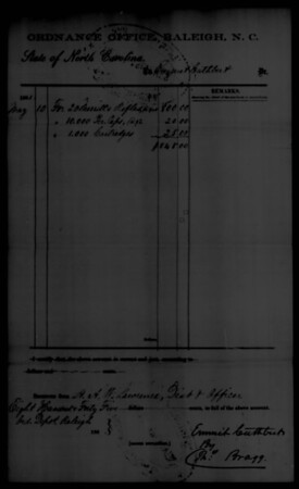 Raleigh Ordnance Requisition Form (Cuthbert,  Emmet - Order for 20 Merrill rifles plus caps and cartridges, May 10 1861; Bragg signature)