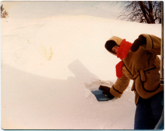 Jan 28, 1978<br /> Joretta Gibson of Kokomo with her 1977 Toyota barried in the snow at a friends house in Alexandria.<br /> Photo Provided