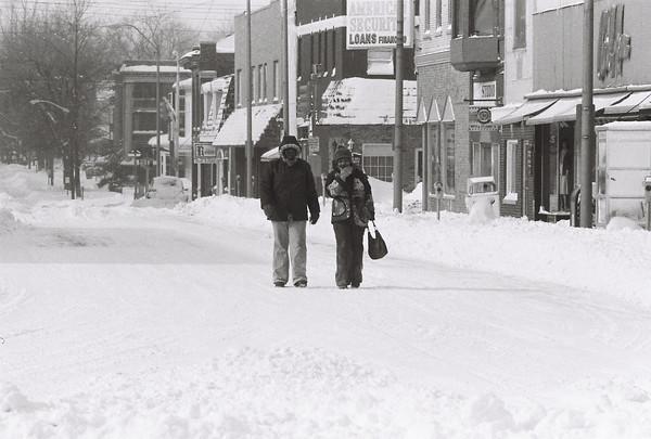 Blizzard 1978<br /> 1-27-78<br /> downtown<br /> Walnut Street looking west from Main Street<br /> Kokomo Tribune Photo