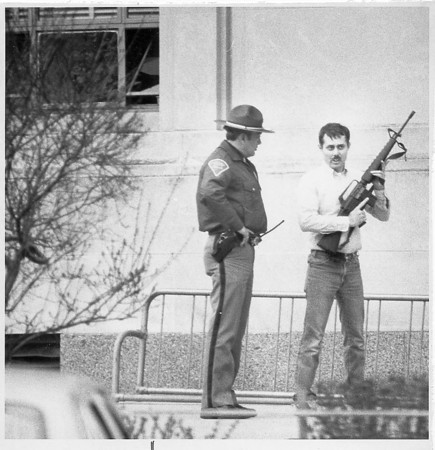 Photo by Susan Goff. April 16, 1987. Howard County Courthouse bombing