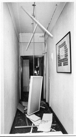 Photo by Brian Reynolds. Courthouse bomb 4/16/87. Hallway from juvenile court to sheriff office.