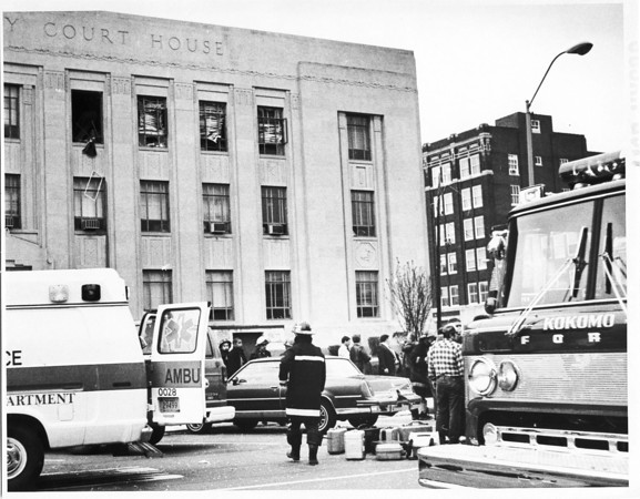Photo by Susan Goff. 4/15/87 Courthouse bomb
