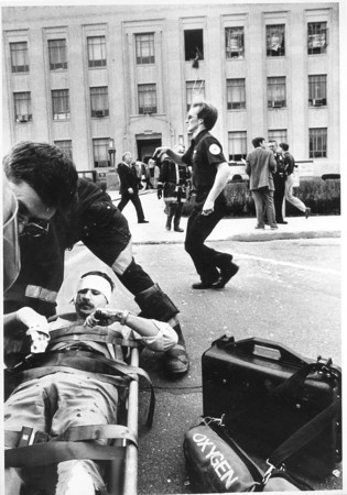 Photo by Paul Sancya. Howard County Courthouse bomb. 4/15/87/