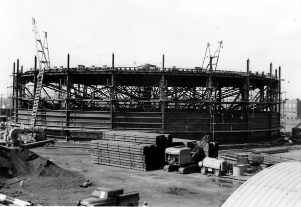 1955<br /> Kokomo's Gas Tower being built.<br /> KT file photo