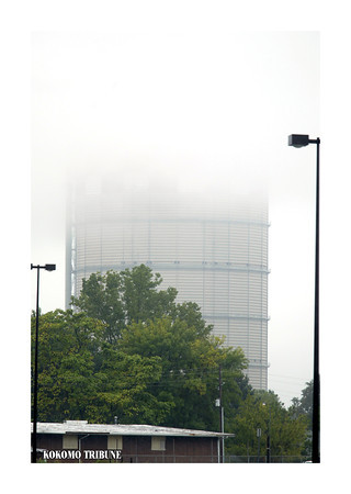 9/1/03<br /> Kokomo Gas & Fuel gas tower in the fog or low cloud cover from Markland Mall parking lot.<br /> KT photo by Tim Bath