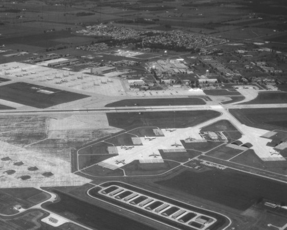 Aerial shot of Grissom Air Force Base. <br /> Grissom AFR archives.