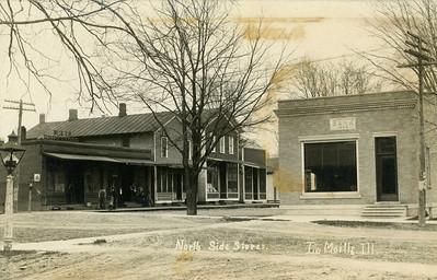 Northside Stores, Intersection of Rt 34 and Railroad St. before the fire, La Moille, IL