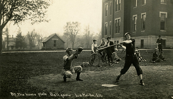 La Moille, IL Alan School 1910 Frank Grissell at bat