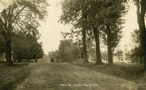 1900, Main Street in LaMoille looking north from Allen School, LaMoille IL