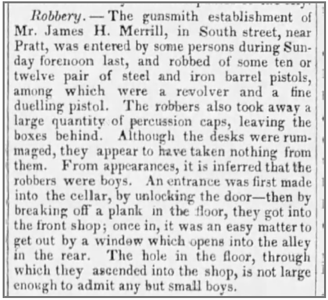 1844 05 13 The Baltimore Sun (Baltimore, Maryland) 13 May 1845, Tue (great writeup of robber at gunsmith shop 1845)