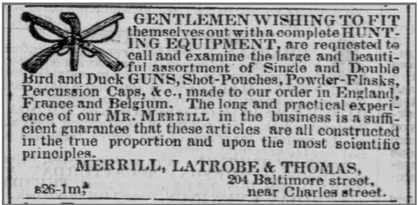 1855 10 01 The_Baltimore_Sun_Mon__Oct_1__1855_ (MLT and hunting equipment ad)