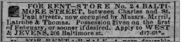 1857 12 19 The Baltimore Sun (Baltimore, Maryland) · 19 Dec 1857, Sat (mentions LMT space for rent at 24 Baltimore between Charles and St Paul streets)