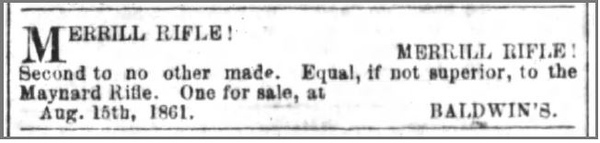 1861 08 19 The_Daily_Journal_Mon__Aug_19__1861_ Rifle for sale (Wilmington, NC)