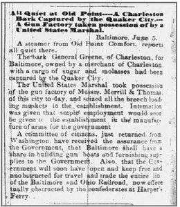 1861 06 06 Rutland_Weekly_Herald_Thu__Jun_6__1861_ Rutland VT (govt took posession of arms)