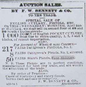 1867 04 24 The Baltimore Sun Auction Ad Apr 24, 1867