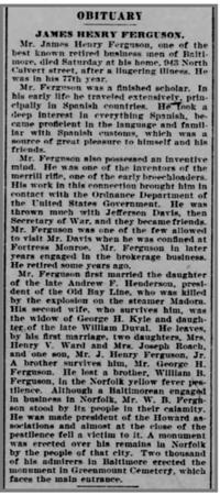 1899 11 20 The Baltimore Sun 20 Nov 1899, Mon (James Henry Ferguson obituary, mentions co-inentor of Merrill rifle)
