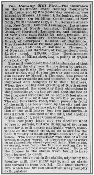 The Baltimore Sun Mill Fire 05 Mar 1881 Sat