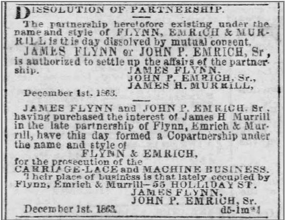 1863 12 08 The Baltimore Sun - Dissolution of Partnership (J H  Murrill) 8 Dec 1863