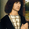 Hans Memling<br /> Portrait of a Young Man at Prayer<br /> On the reverse: Flower Still Life<br /> c.1485-94<br /> Panel, 44.10 x 37 x 8.5 cm<br /> Madrid, Museo Thyssen-Bornemisza, inv.1938.1