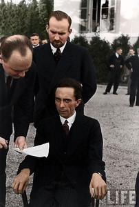Nazi Minister of Propaganda Joseph Goebbels scowls at a Jewish photographer, 1933