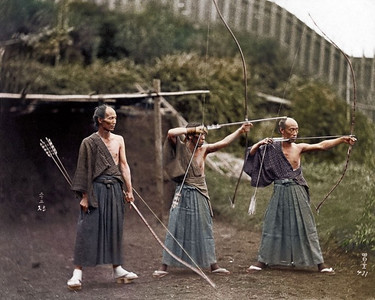 Japanese Archers, circa 1860 (Colorized by Jordan J Lloyd)