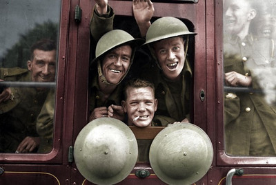 British Troops Board Their Train for the Front, 1939