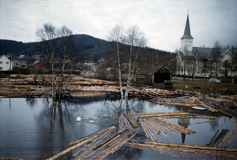 Vinterens tømmerhogst seiler rolig ut i elva fra velteplassen.