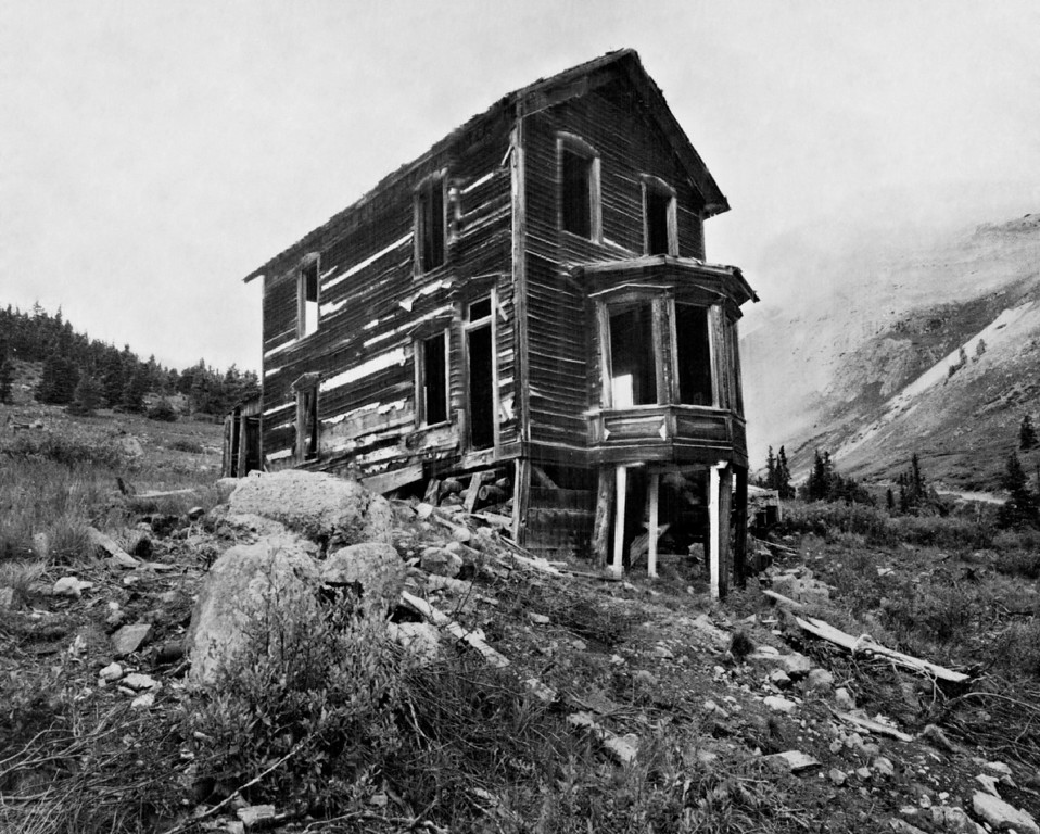 . AUG 20 1968.  The residence of Tom Walsh, standing out in the ghost town of Animas Forks, near Silverton, Colorado. This and other buildings might be repaired by James Farrington of Albuquerque, N.M., who has leased the old townsite. Farrington says he and his family might spend their vacations in the repaired buildings.   (Monk Tyson/Denver Post)