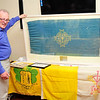 Photograph: Margaret Brown<br /> Official Presentation of a 1932 Eucharistic Congress Flag to the Dun Laoghaire Club by Jane & Geoffrey Metcalf on Saturday 25th June 2016 at 8pm.