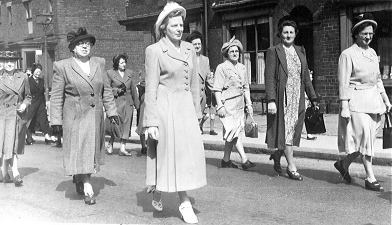 Whit Sunday procession late 1940's with Mary Edge & Marie Ryan.