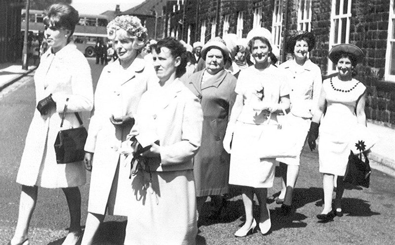 1963 ish,Whit Sunday procession, Mary and Josephine Edge Mrs Beale also in the picture.