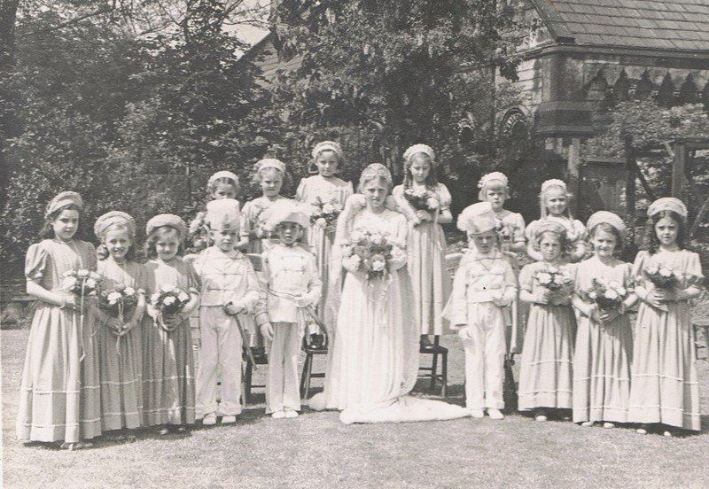 1952 ish, Barbara Frith as Rose Queen, Josephine Egde second from right.