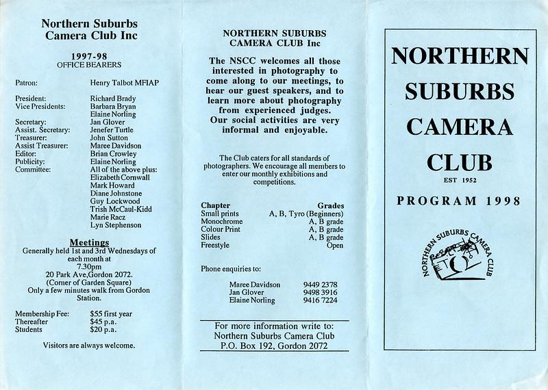 1998 Program - Front