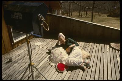 Nancy on Deck (Utopia Mink Hollow studio in background)