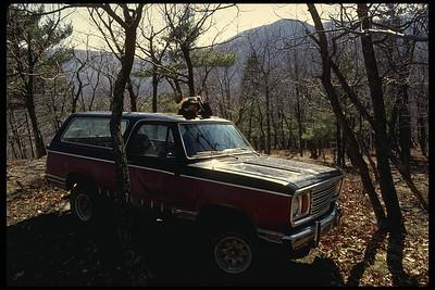 Nancy in Todd's truck, halfway up Little Mt.