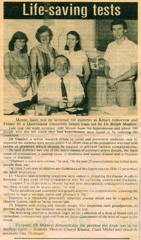 Taken in 1983 for the Mount Isa Newspaper. In that year I worked for Dr Ralph Shapiro as a Research Assistant.