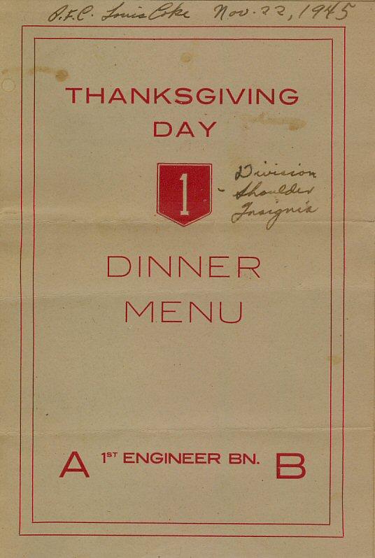 Thanksgiving Day dinner menu cover