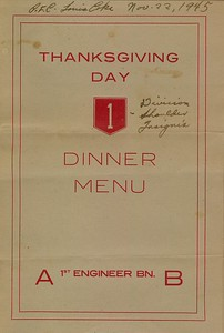 1st Engineer Battalion - 1945 Thanksgiving Day dinner menu