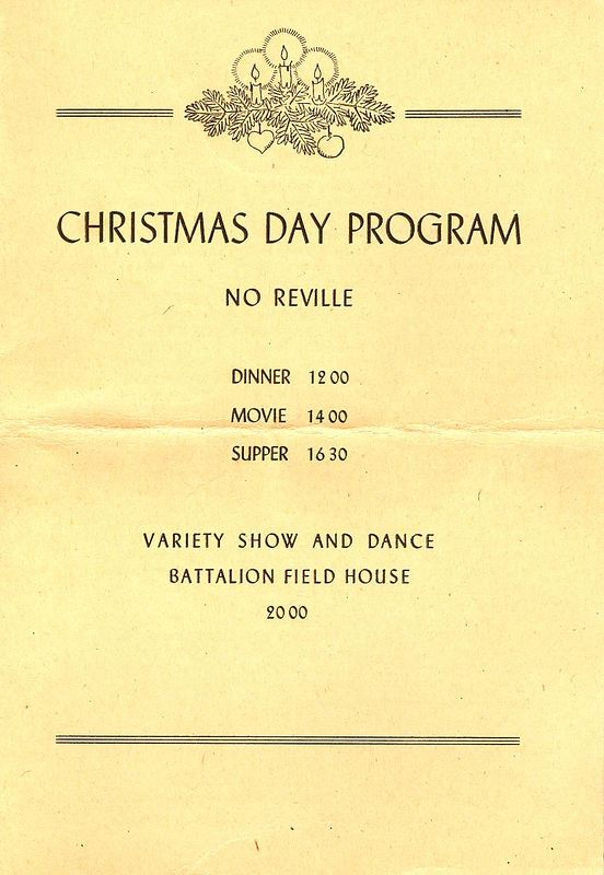 Christmas Day Program Cover - Schedule of Events