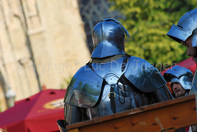 Knights in real plate armour. It's all part of the events happening in the medieval village at the Place du Grand Sablon (Zavel) in Brussels, Belgium, during the Ommegang festivities.