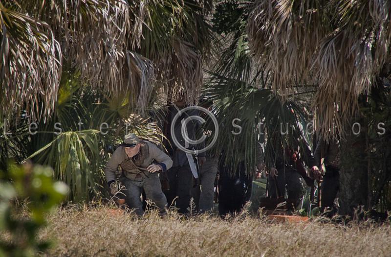 Confederates prepare to attack the retreating Union forces.