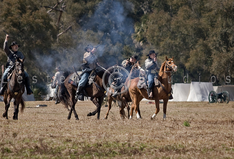Confederate and Union calvary units clash as the raid begins.