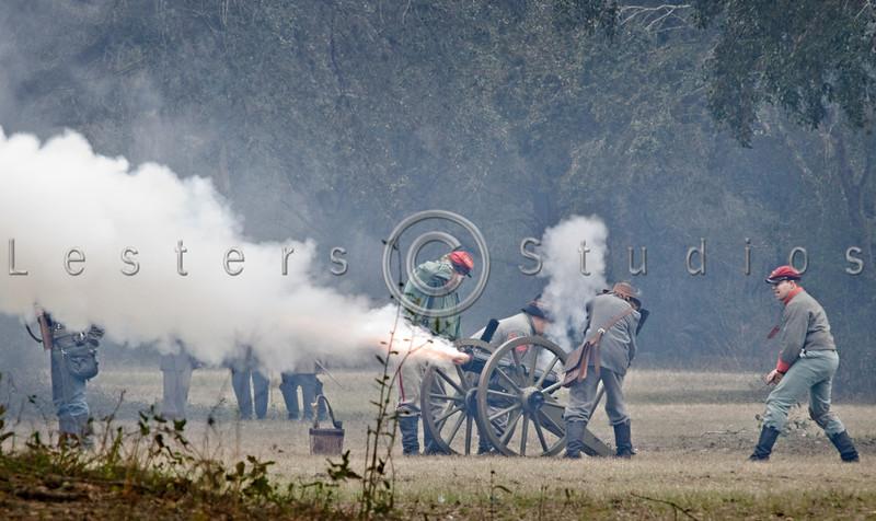 Gun crew in action.