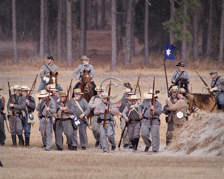 Confederate troops move into action.