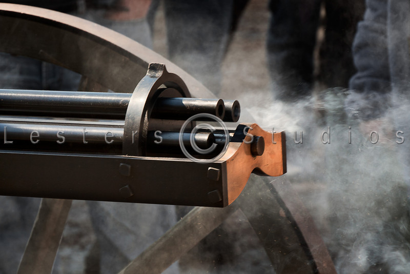 Contrary to Hollywood's versions, the Gatlin Gun saw very limited use in the Civil War.  This exact replica fires reloadable chambers rather than self contained cartriges, just like the orginal.