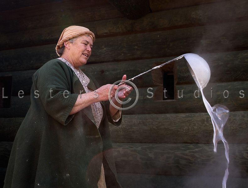 Making soap the old fashioned way.